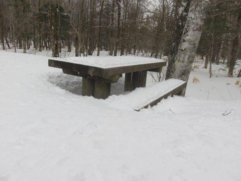 雪とベンチ