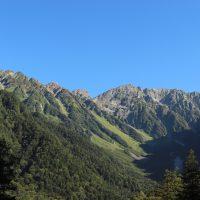 澄んだ空気が穂高連峰を透かす上高地