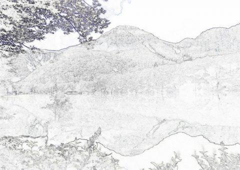 逆さ焼岳塗り絵