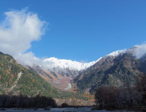 穂高連峰、冠雪しました!